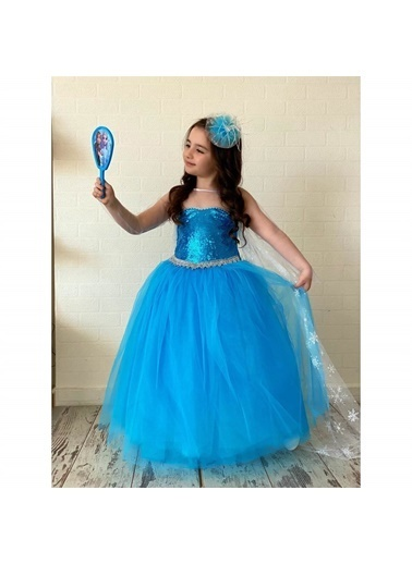 Quzucuk Kids Kız Çocuk Mavi Prenses Elbise Mavi
